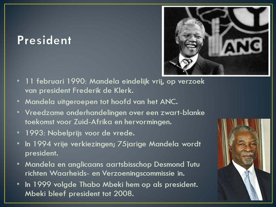 11 februari 1990: Mandela eindelijk vrij, op verzoek van president Frederik de Klerk. Mandela uitgeroepen tot hoofd van het ANC. Vreedzame onderhandel