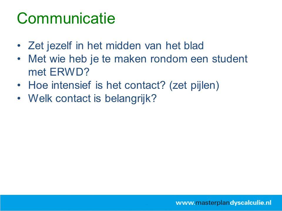Communicatie Zet jezelf in het midden van het blad Met wie heb je te maken rondom een student met ERWD.