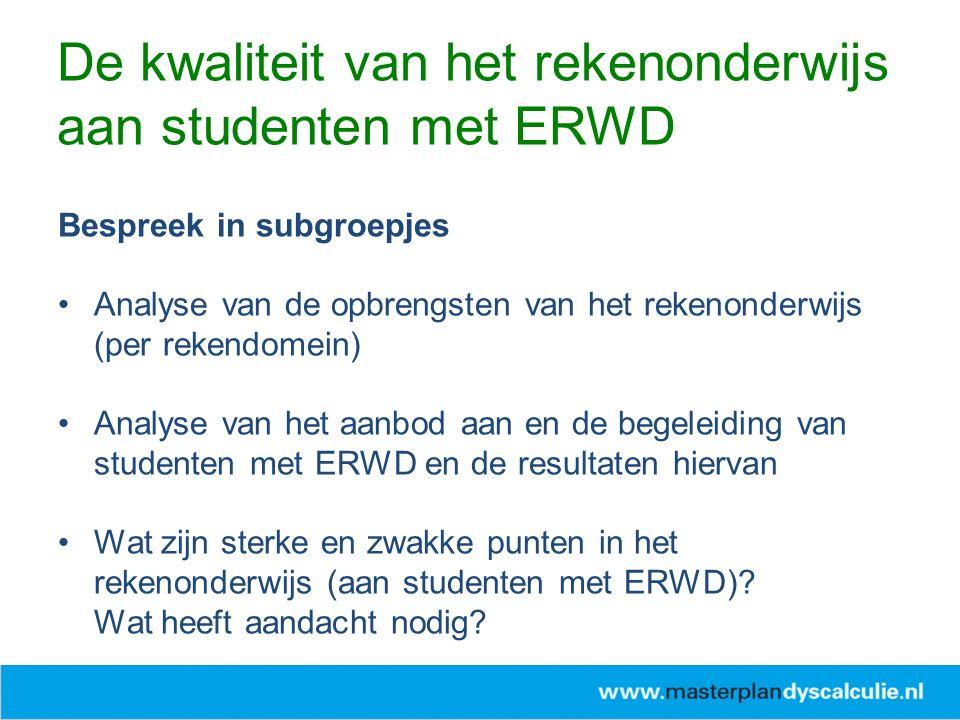 Zet samen in schema: wat is nodig om de 'overgang' van studenten met ERWD te verbeteren.