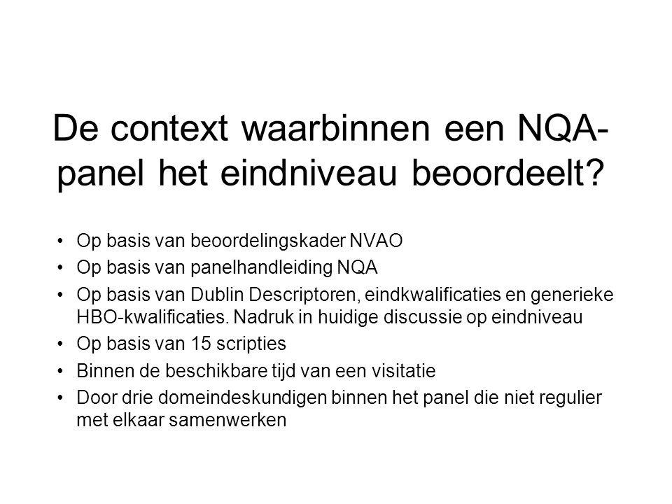 De context waarbinnen een NQA- panel het eindniveau beoordeelt.
