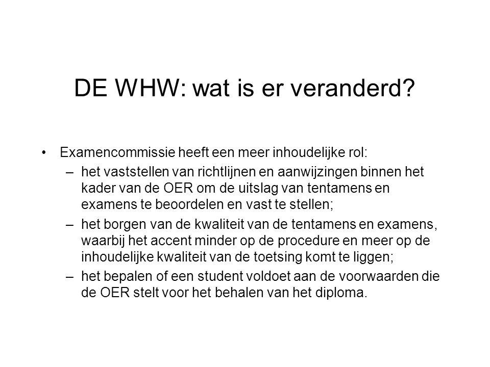 DE WHW: wat is er veranderd.