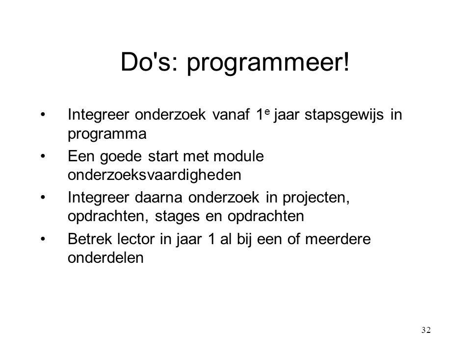 32 Do s: programmeer.