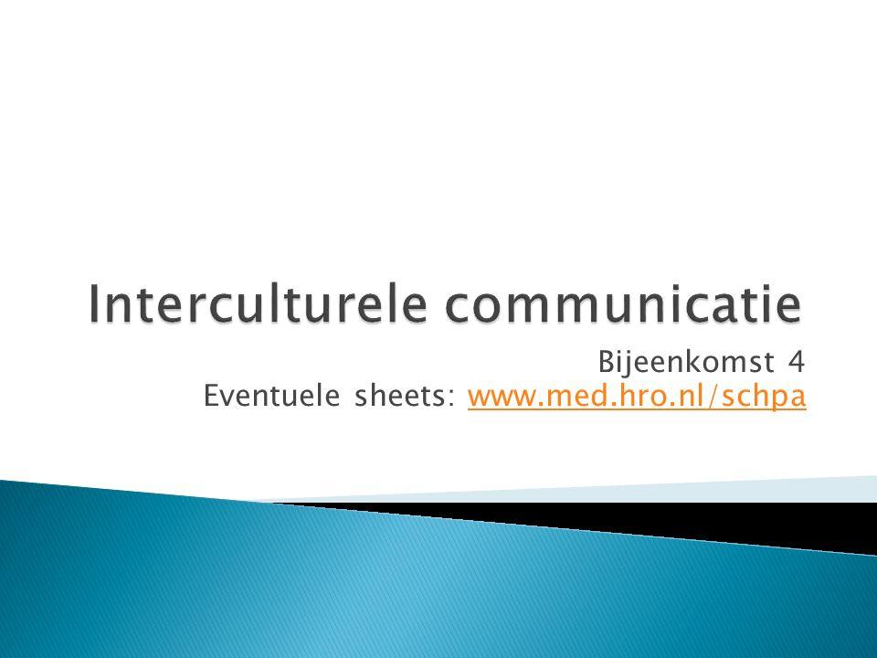 Bijeenkomst 4 Eventuele sheets: www.med.hro.nl/schpawww.med.hro.nl/schpa