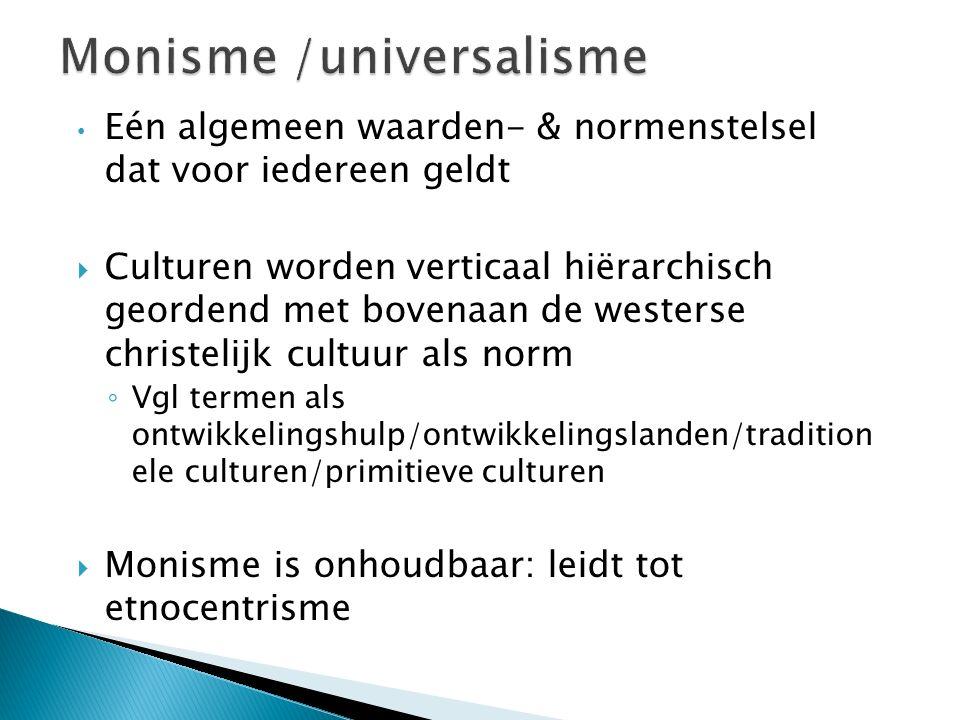 Eén algemeen waarden- & normenstelsel dat voor iedereen geldt  Culturen worden verticaal hiërarchisch geordend met bovenaan de westerse christelijk c