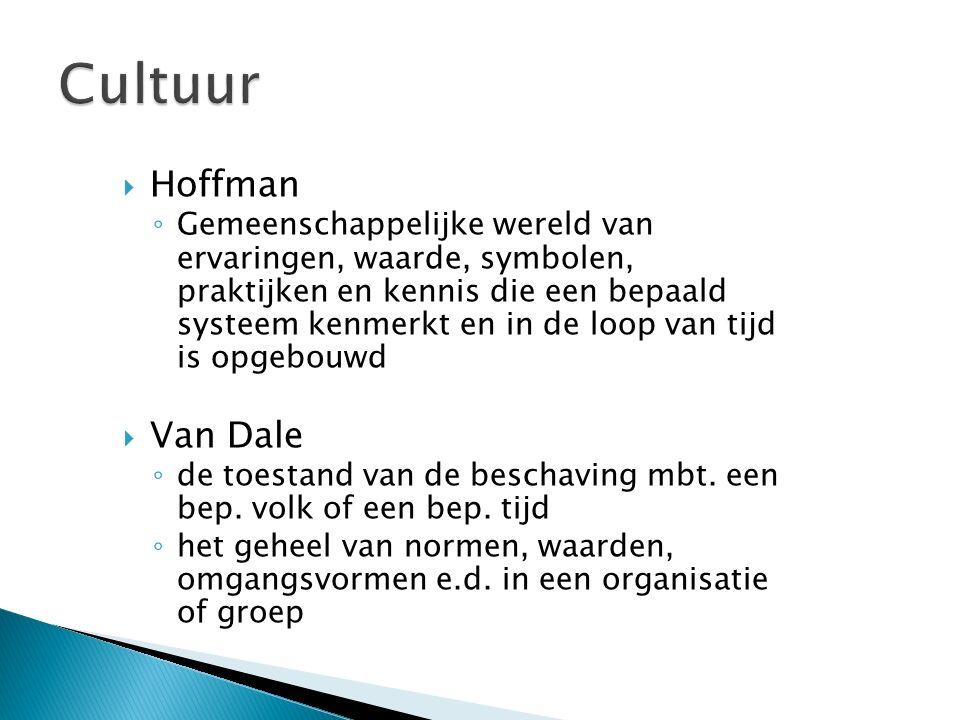  Hoffman ◦ Gemeenschappelijke wereld van ervaringen, waarde, symbolen, praktijken en kennis die een bepaald systeem kenmerkt en in de loop van tijd i