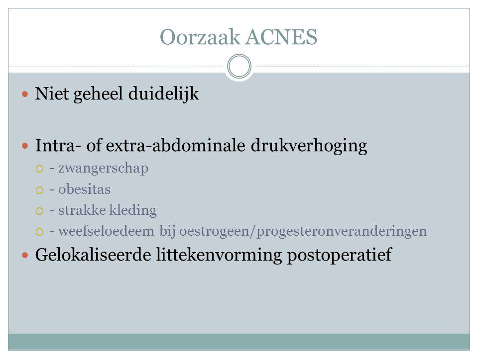 Symptomen ACNES Trias Chronische abdominale pijn Zeer gelokaliseerde pijn (gebied max.