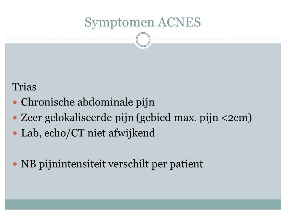 Symptomen ACNES Trias Chronische abdominale pijn Zeer gelokaliseerde pijn (gebied max. pijn <2cm) Lab, echo/CT niet afwijkend NB pijnintensiteit versc