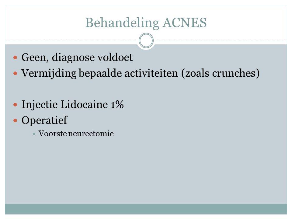 Behandeling ACNES Geen, diagnose voldoet Vermijding bepaalde activiteiten (zoals crunches) Injectie Lidocaine 1% Operatief  Voorste neurectomie