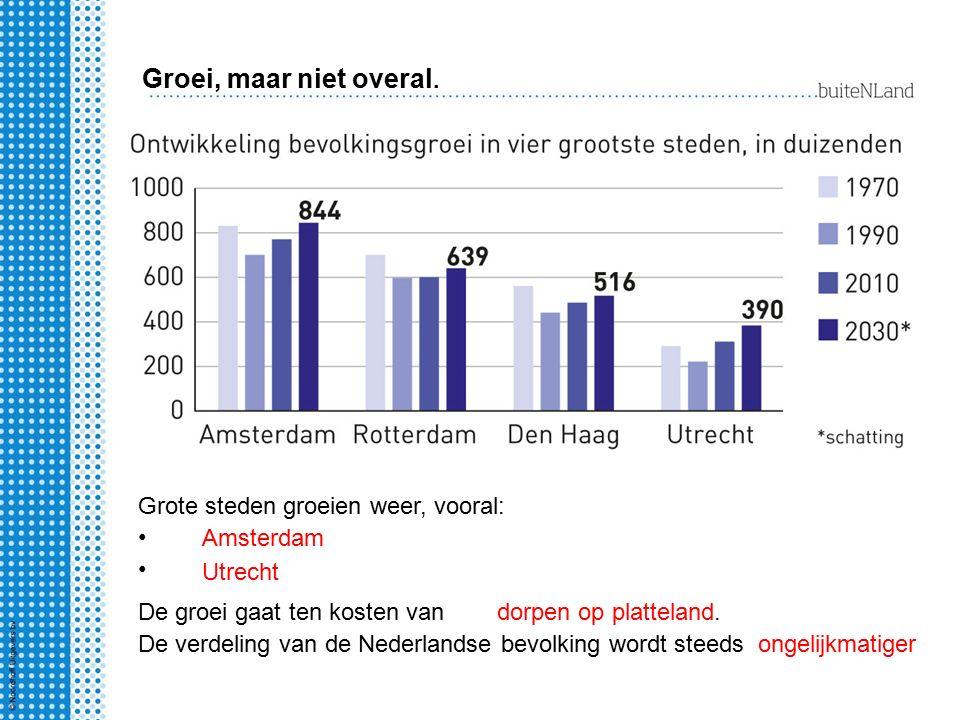 Groei, maar niet overal. Grote steden groeien weer, vooral: Amsterdam Utrecht De groei gaat ten kosten vandorpen op platteland. De verdeling van de Ne