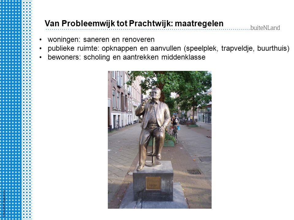 Van Probleemwijk tot Prachtwijk: maatregelen woningen: saneren en renoveren publieke ruimte: opknappen en aanvullen (speelplek, trapveldje, buurthuis)