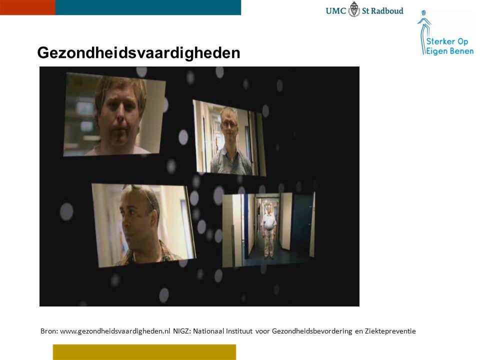 Bron: www.gezondheidsvaardigheden.nl NIGZ: Nationaal Instituut voor Gezondheidsbevordering en Ziektepreventie Gezondheidsvaardigheden