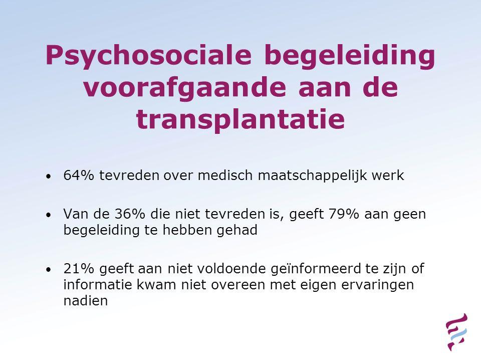 Psychosociale begeleiding voorafgaande aan de transplantatie 64% tevreden over medisch maatschappelijk werk Van de 36% die niet tevreden is, geeft 79%