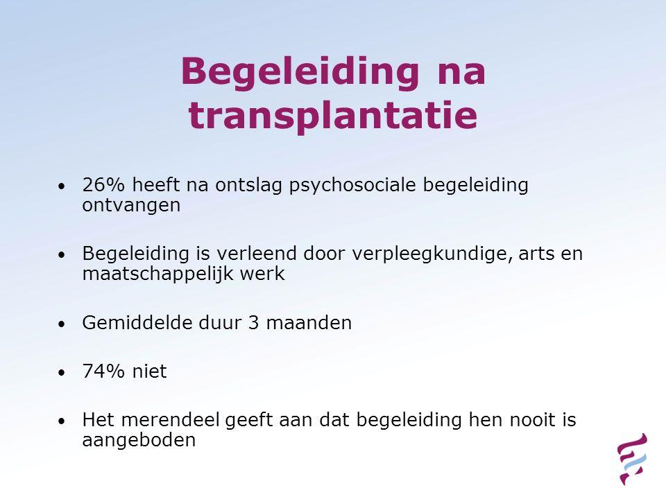 Begeleiding na transplantatie 26% heeft na ontslag psychosociale begeleiding ontvangen Begeleiding is verleend door verpleegkundige, arts en maatschap