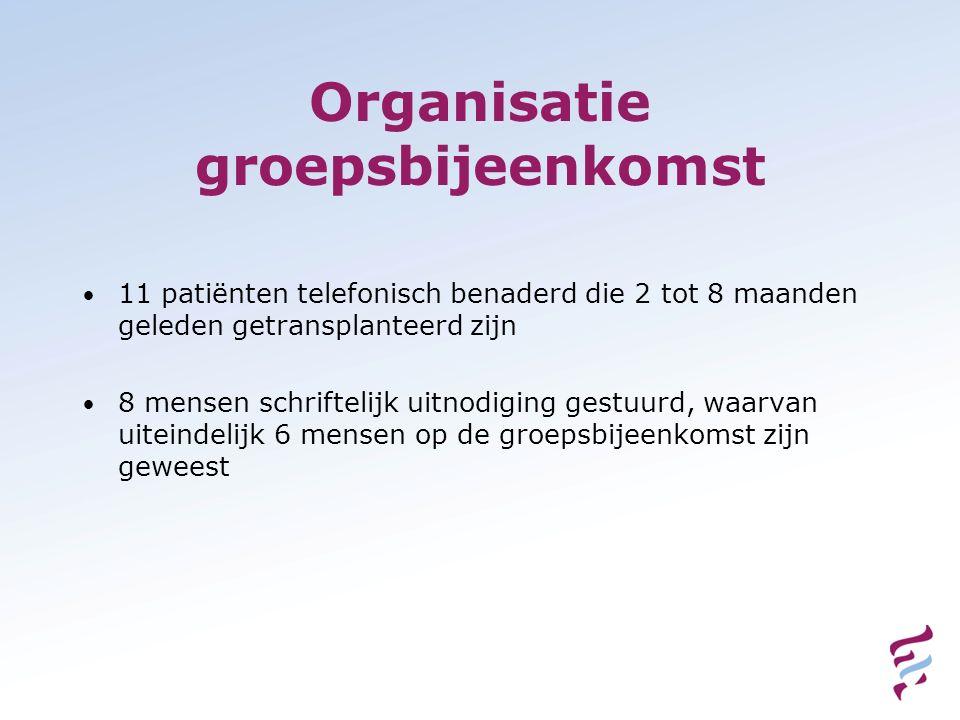 Organisatie groepsbijeenkomst 11 patiënten telefonisch benaderd die 2 tot 8 maanden geleden getransplanteerd zijn 8 mensen schriftelijk uitnodiging ge