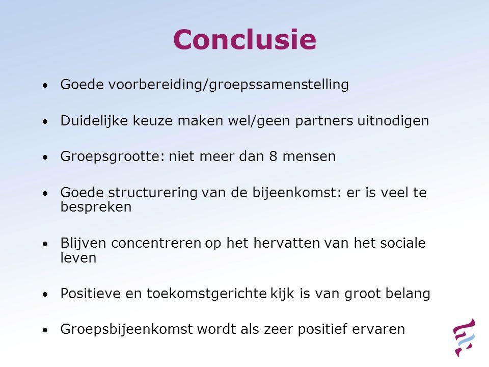 Conclusie Goede voorbereiding/groepssamenstelling Duidelijke keuze maken wel/geen partners uitnodigen Groepsgrootte: niet meer dan 8 mensen Goede stru