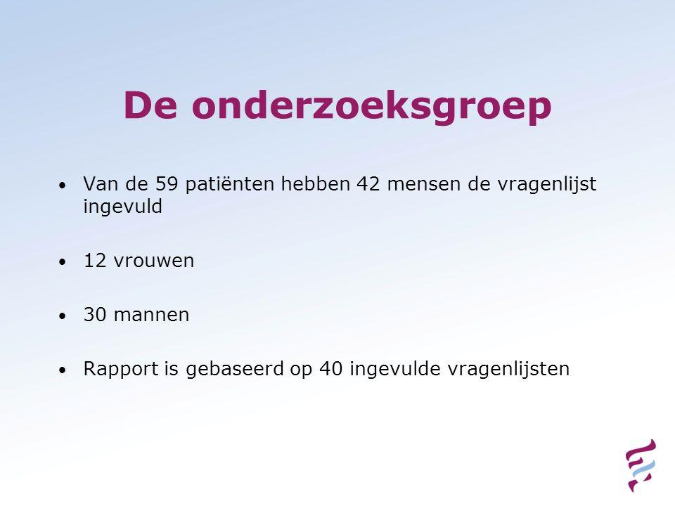 De onderzoeksgroep Van de 59 patiënten hebben 42 mensen de vragenlijst ingevuld 12 vrouwen 30 mannen Rapport is gebaseerd op 40 ingevulde vragenlijste