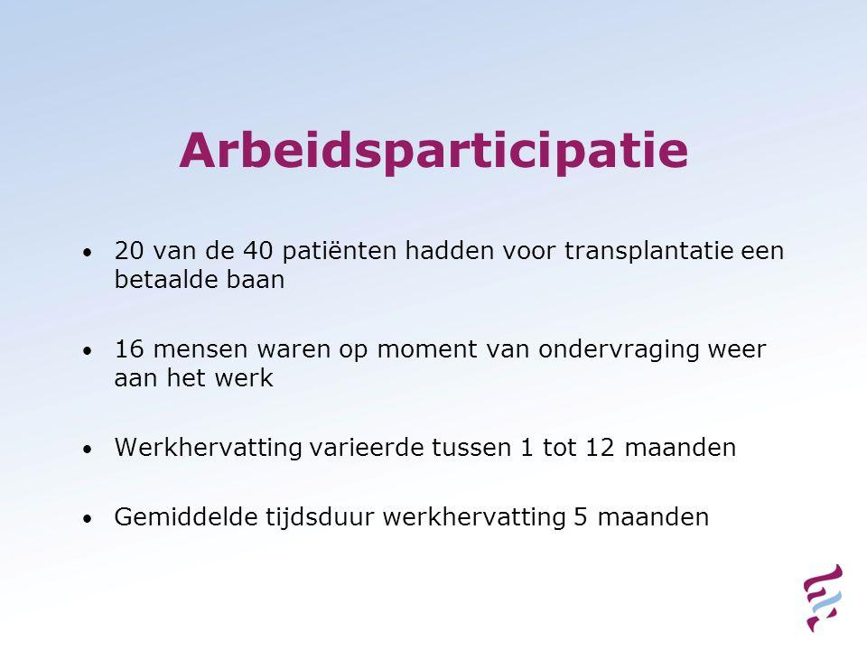 Arbeidsparticipatie 20 van de 40 patiënten hadden voor transplantatie een betaalde baan 16 mensen waren op moment van ondervraging weer aan het werk W