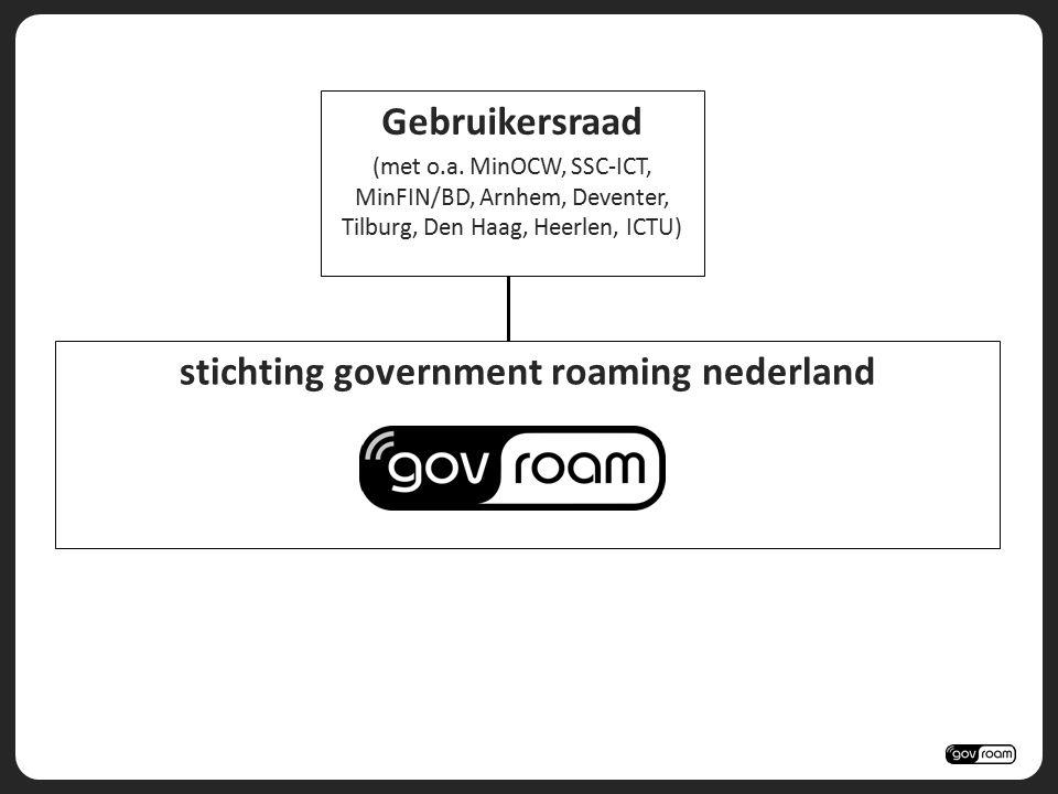 stichting government roaming nederland Gebruikersraad (met o.a. MinOCW, SSC-ICT, MinFIN/BD, Arnhem, Deventer, Tilburg, Den Haag, Heerlen, ICTU)