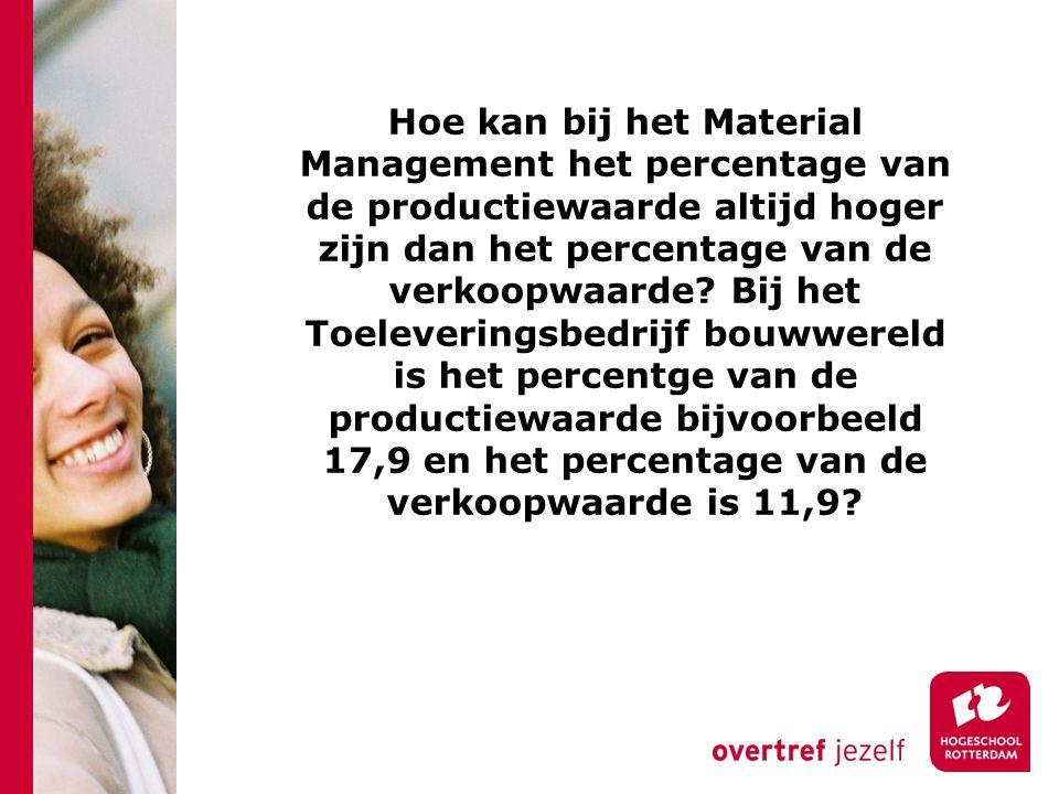 Hoe kan bij het Material Management het percentage van de productiewaarde altijd hoger zijn dan het percentage van de verkoopwaarde.