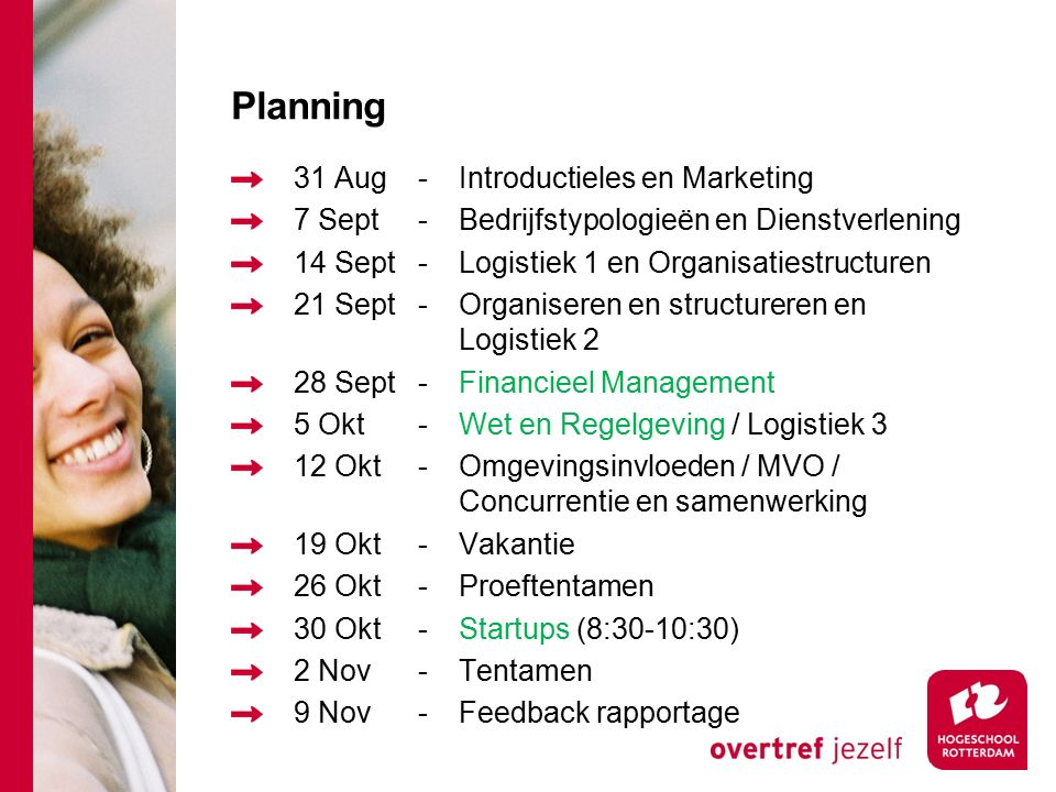 Planning 31 Aug-Introductieles en Marketing 7 Sept-Bedrijfstypologieën en Dienstverlening 14 Sept-Logistiek 1 en Organisatiestructuren 21 Sept-Organis