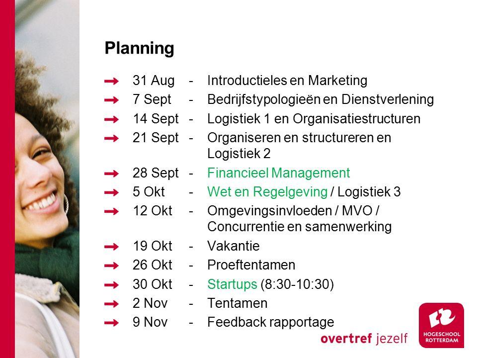 Planning 31 Aug-Introductieles en Marketing 7 Sept-Bedrijfstypologieën en Dienstverlening 14 Sept-Logistiek 1 en Organisatiestructuren 21 Sept-Organiseren en structureren en Logistiek 2 28 Sept-Financieel Management 5 Okt-Wet en Regelgeving / Logistiek 3 12 Okt-Omgevingsinvloeden / MVO / Concurrentie en samenwerking 19 Okt-Vakantie 26 Okt-Proeftentamen 30 Okt-Startups (8:30-10:30) 2 Nov-Tentamen 9 Nov-Feedback rapportage