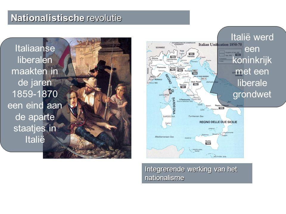Italiaanse liberalen maakten in de jaren 1859-1870 een eind aan de aparte staatjes in Italië Italië werd een koninkrijk met een liberale grondwet Inte
