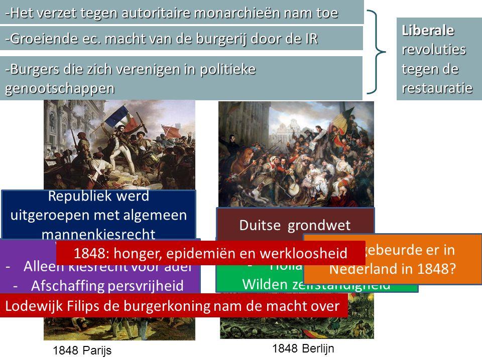 -Het verzet tegen autoritaire monarchieën nam toe -Groeiende ec. macht van de burgerij door de IR -Burgers die zich verenigen in politieke genootschap