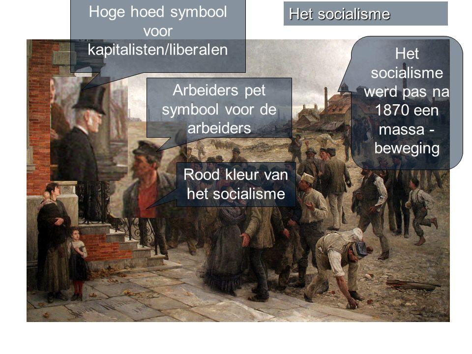 Het socialisme Arbeiders pet symbool voor de arbeiders Hoge hoed symbool voor kapitalisten/liberalen Rood kleur van het socialisme Het socialisme werd