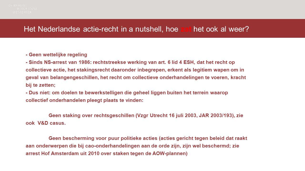 Het Nederlandse actie-recht in a nutshell, hoe zat het ook al weer.