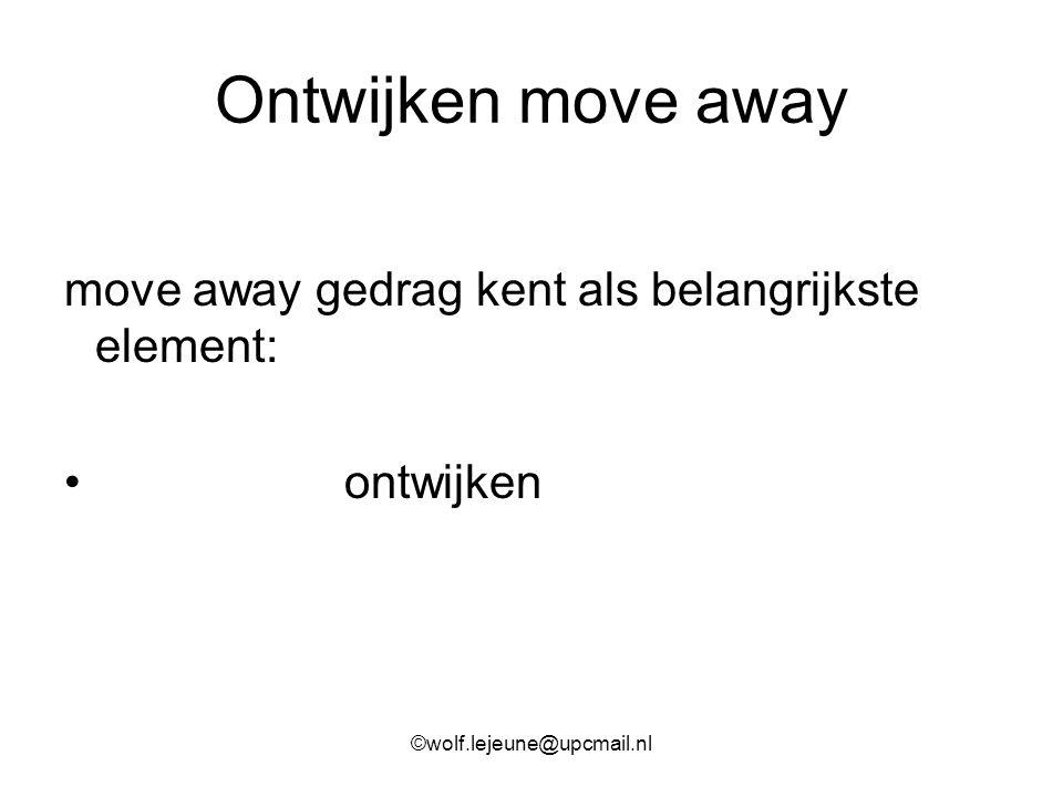 Ontwijken move away move away gedrag kent als belangrijkste element: ontwijken ©wolf.lejeune@upcmail.nl
