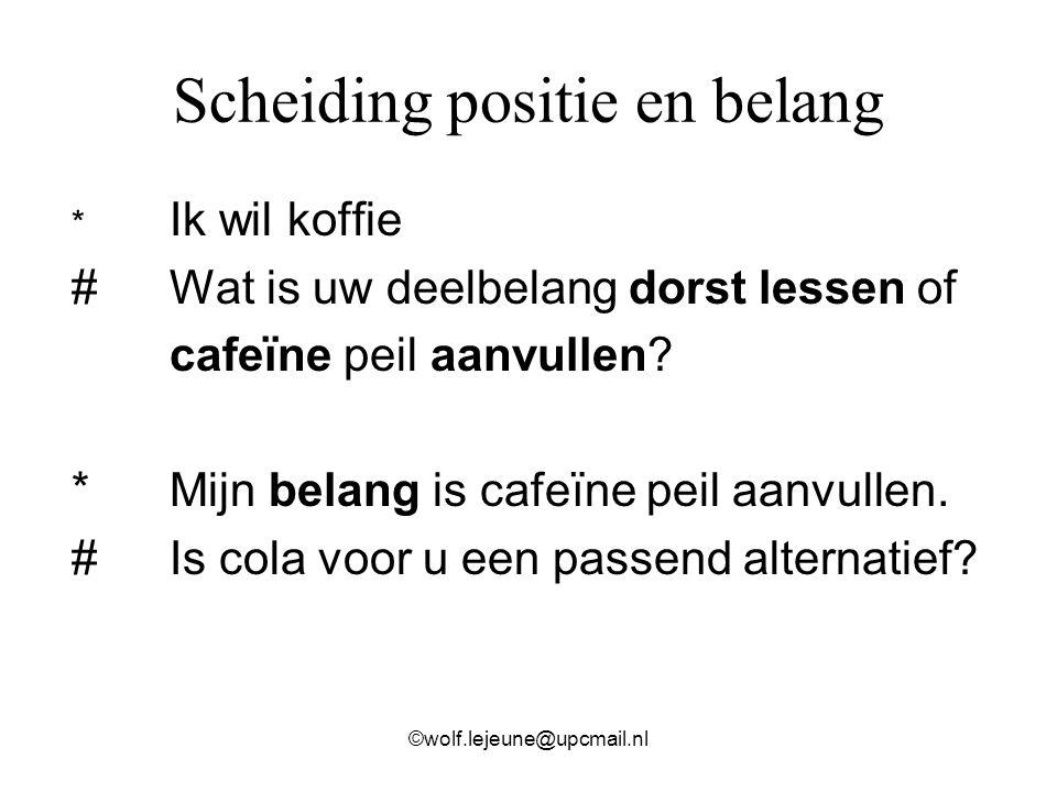Scheiding positie en belang * Ik wil koffie # Wat is uw deelbelang dorst lessen of cafeïne peil aanvullen? *Mijn belang is cafeïne peil aanvullen. #Is