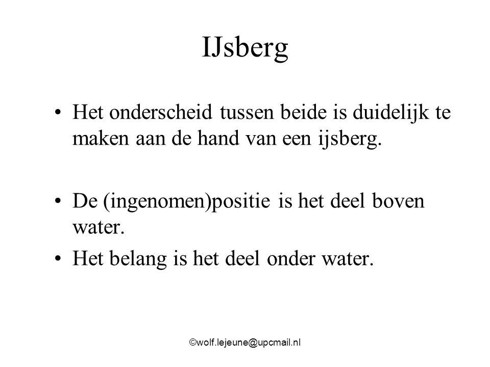IJsberg Het onderscheid tussen beide is duidelijk te maken aan de hand van een ijsberg. De (ingenomen)positie is het deel boven water. Het belang is h