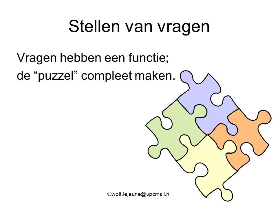 """Stellen van vragen Vragen hebben een functie; de """"puzzel"""" compleet maken. ©wolf.lejeune@upcmail.nl"""
