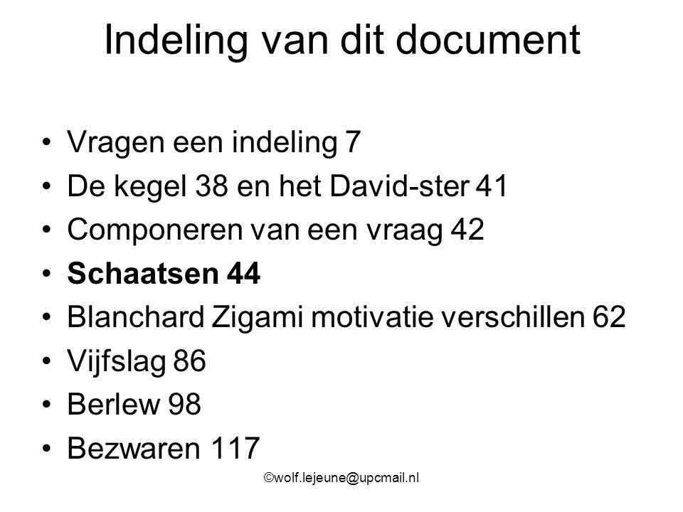 Indeling van dit document Vragen een indeling 7 De kegel 38 en het David-ster 41 Componeren van een vraag 42 Schaatsen 44 Blanchard Zigami motivatie v