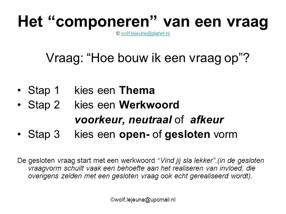 """Het """"componeren"""" van een vraag © wolf.lejeune@planet.nlwolf.lejeune@planet.nl Vraag: """"Hoe bouw ik een vraag op""""? Stap 1kies een Thema Stap 2kies een W"""