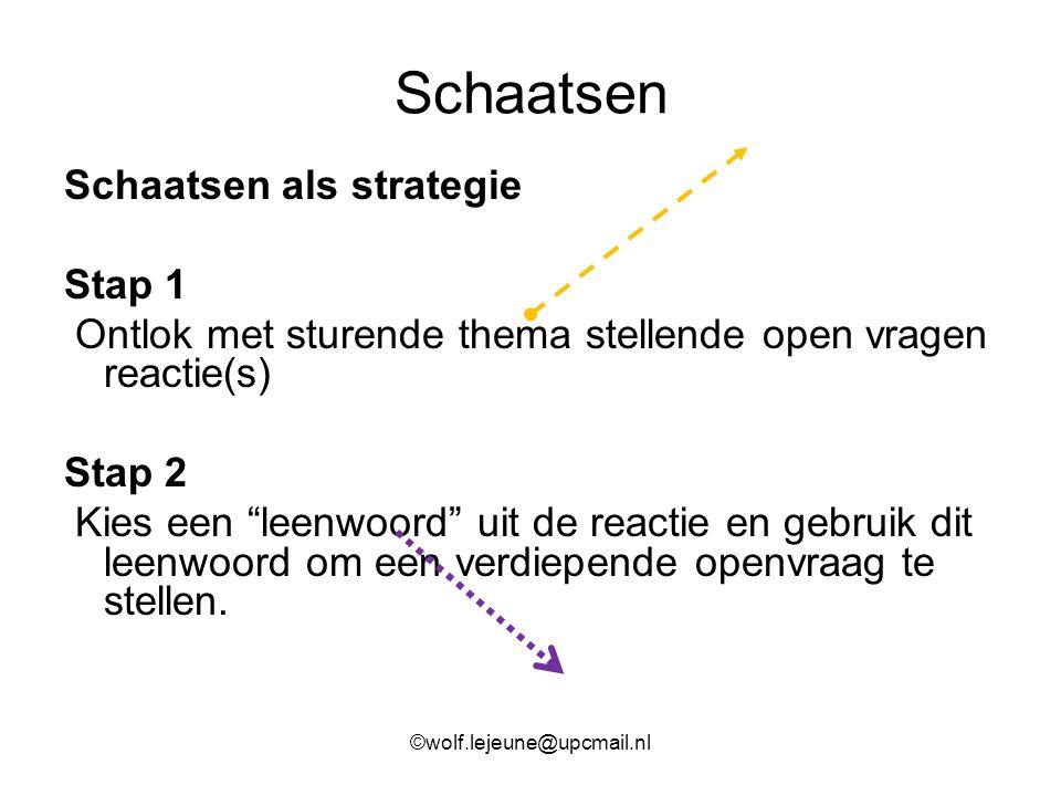 """Schaatsen Schaatsen als strategie Stap 1 Ontlok met sturende thema stellende open vragen reactie(s) Stap 2 Kies een """"leenwoord"""" uit de reactie en gebr"""