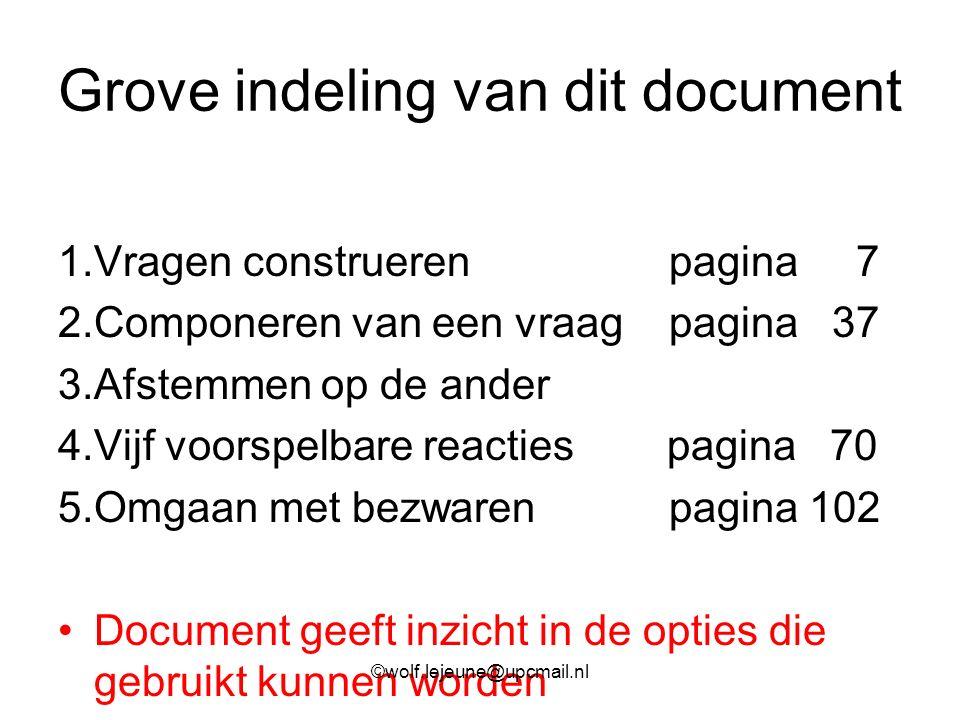 Grove indeling van dit document 1.Vragen construeren pagina 7 2.Componeren van een vraag pagina 37 3.Afstemmen op de ander 4.Vijf voorspelbare reactie