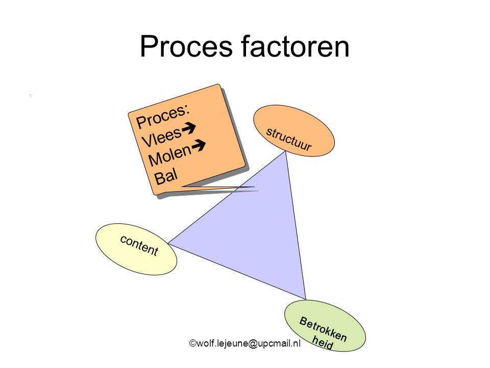 Proces factoren. content structuur Betrokken heid Proces: Vlees  Molen  Bal Proces: Vlees  Molen  Bal ©wolf.lejeune@upcmail.nl