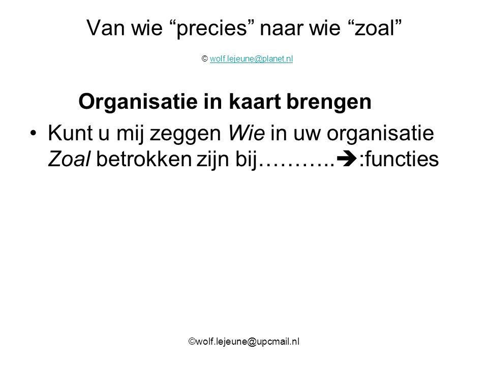 """Van wie """"precies"""" naar wie """"zoal"""" © wolf.lejeune@planet.nlwolf.lejeune@planet.nl Organisatie in kaart brengen Kunt u mij zeggen Wie in uw organisatie"""