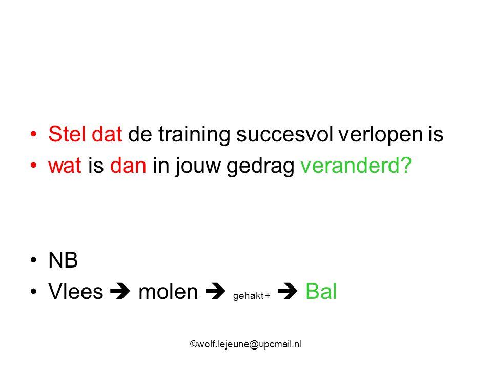 Stel dat de training succesvol verlopen is wat is dan in jouw gedrag veranderd? NB Vlees  molen  gehakt +  Bal ©wolf.lejeune@upcmail.nl
