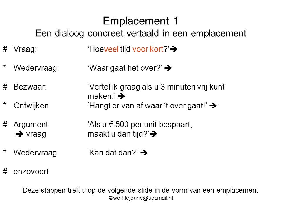 Emplacement 1 Een dialoog concreet vertaald in een emplacement #Vraag: 'Hoeveel tijd voor kort?'  *Wedervraag: 'Waar gaat het over?'  #Bezwaar:'Vert