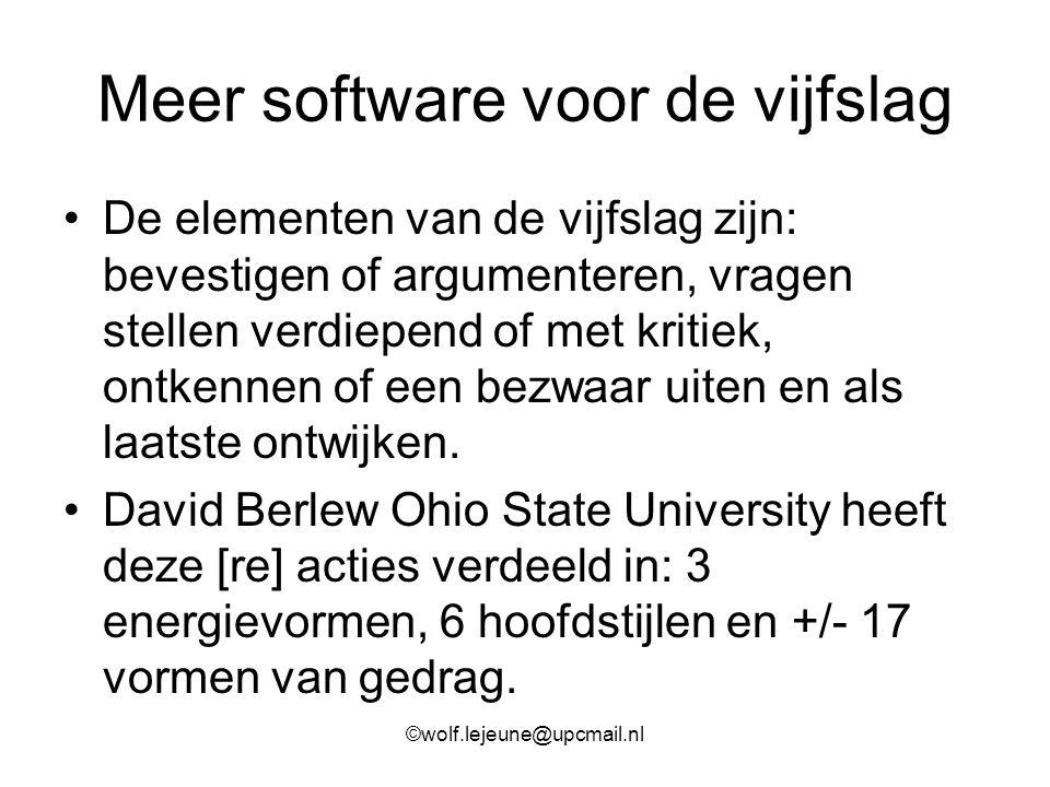 Meer software voor de vijfslag De elementen van de vijfslag zijn: bevestigen of argumenteren, vragen stellen verdiepend of met kritiek, ontkennen of e