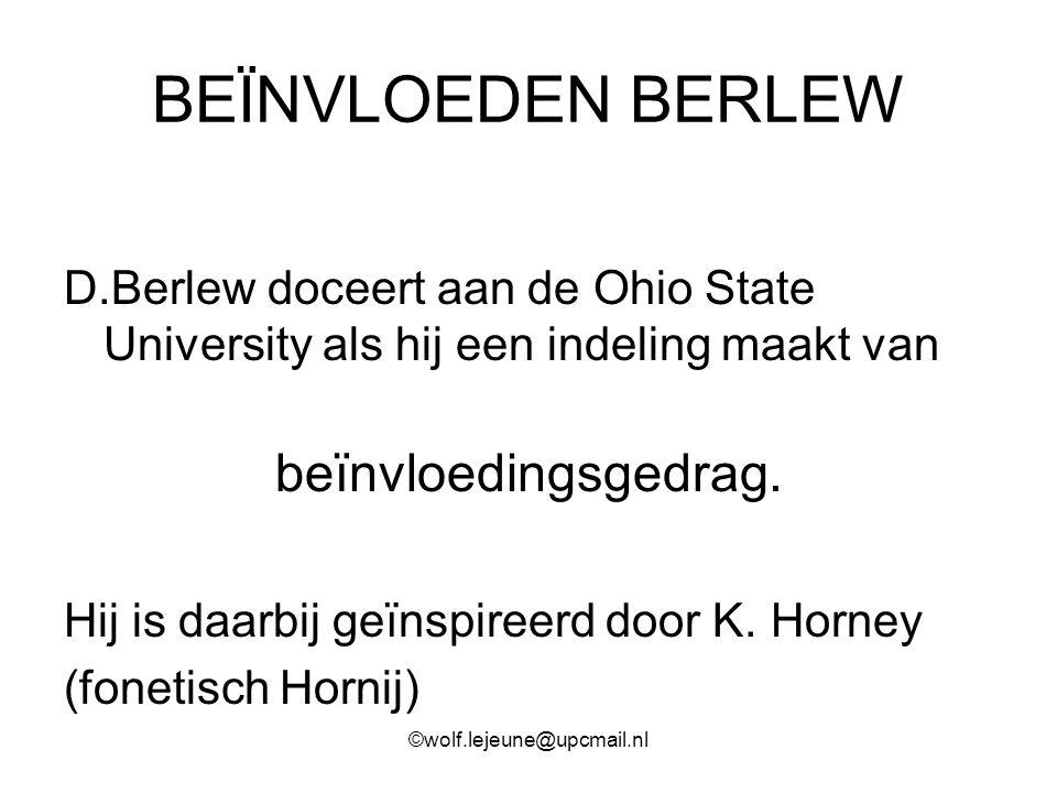 BEÏNVLOEDEN BERLEW D.Berlew doceert aan de Ohio State University als hij een indeling maakt van beïnvloedingsgedrag. Hij is daarbij geïnspireerd door