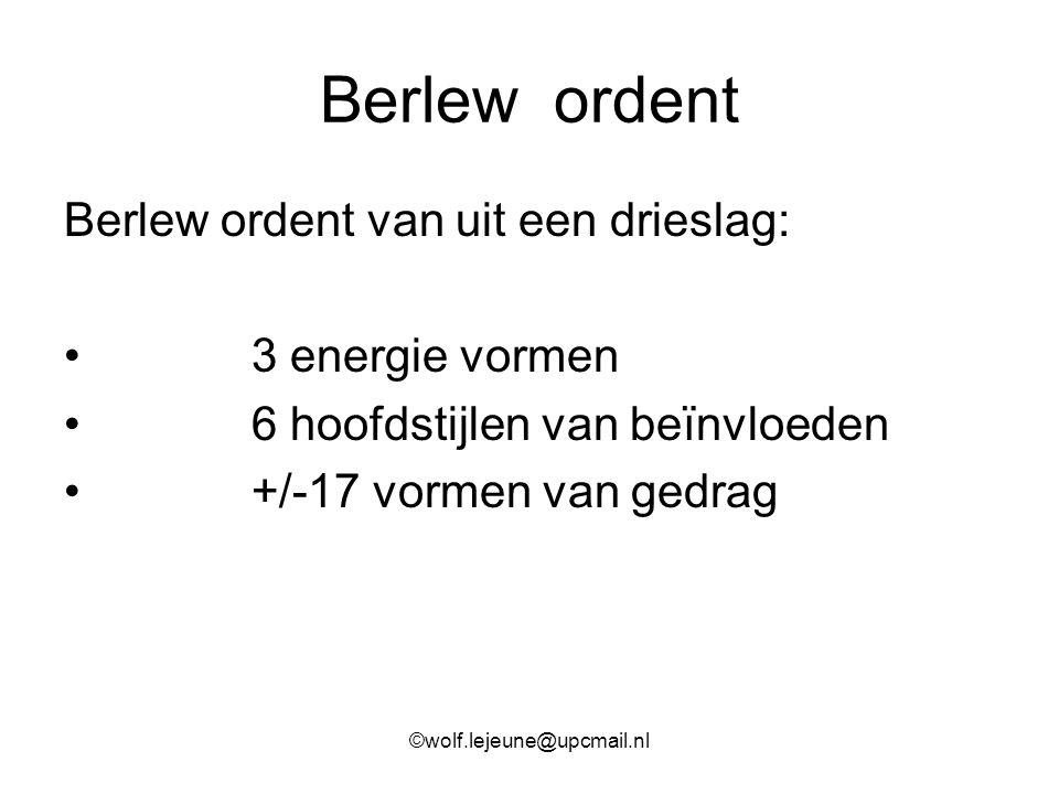 Berlew ordent Berlew ordent van uit een drieslag: 3 energie vormen 6 hoofdstijlen van beïnvloeden +/-17 vormen van gedrag ©wolf.lejeune@upcmail.nl