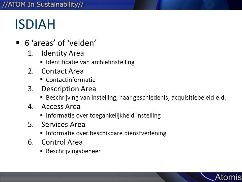 ISDIAH  6 'areas' of 'velden' 1.Identity Area  Identificatie van archiefinstelling 2.Contact Area  Contactinformatie 3.Description Area  Beschrijving van instelling, haar geschiedenis, acquisitiebeleid e.d.