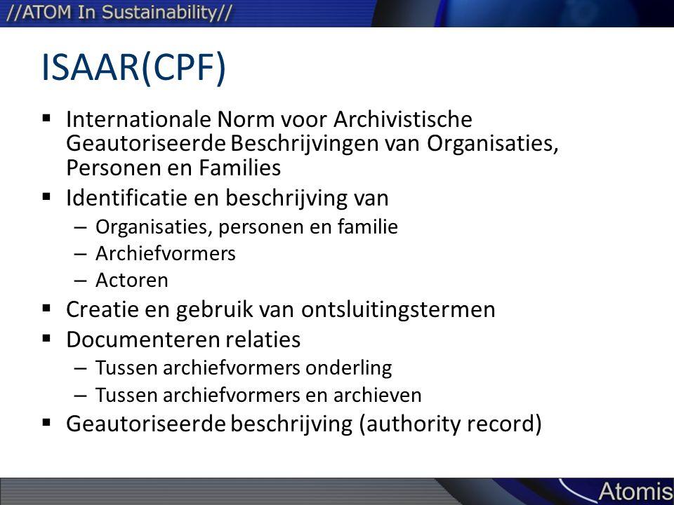 ISAAR(CPF)  Internationale Norm voor Archivistische Geautoriseerde Beschrijvingen van Organisaties, Personen en Families  Identificatie en beschrijv