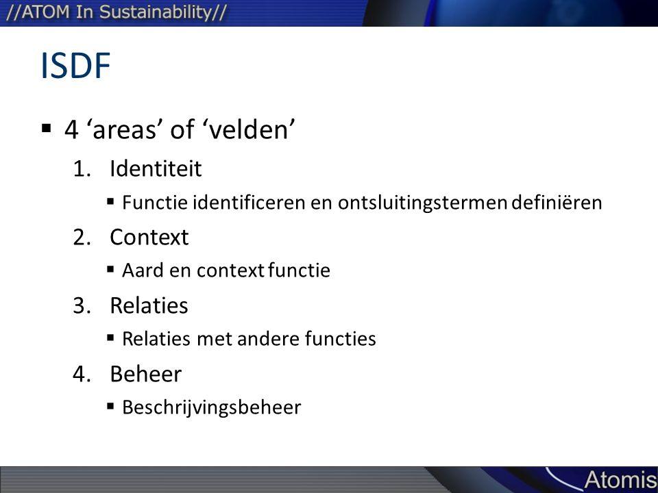 ISDF  4 'areas' of 'velden' 1.Identiteit  Functie identificeren en ontsluitingstermen definiëren 2.Context  Aard en context functie 3.Relaties  Relaties met andere functies 4.Beheer  Beschrijvingsbeheer