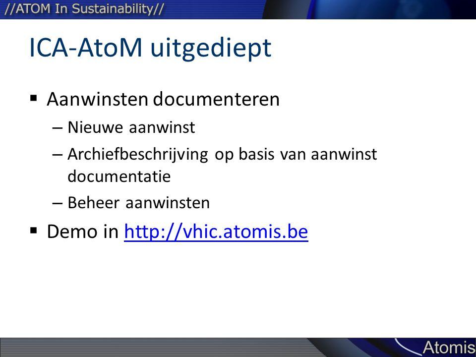 ICA-AtoM uitgediept  Aanwinsten documenteren – Nieuwe aanwinst – Archiefbeschrijving op basis van aanwinst documentatie – Beheer aanwinsten  Demo in http://vhic.atomis.behttp://vhic.atomis.be