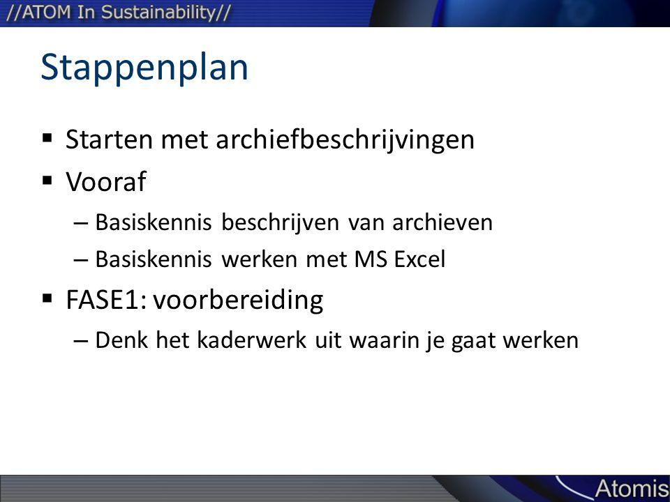 Stappenplan  Starten met archiefbeschrijvingen  Vooraf – Basiskennis beschrijven van archieven – Basiskennis werken met MS Excel  FASE1: voorbereiding – Denk het kaderwerk uit waarin je gaat werken