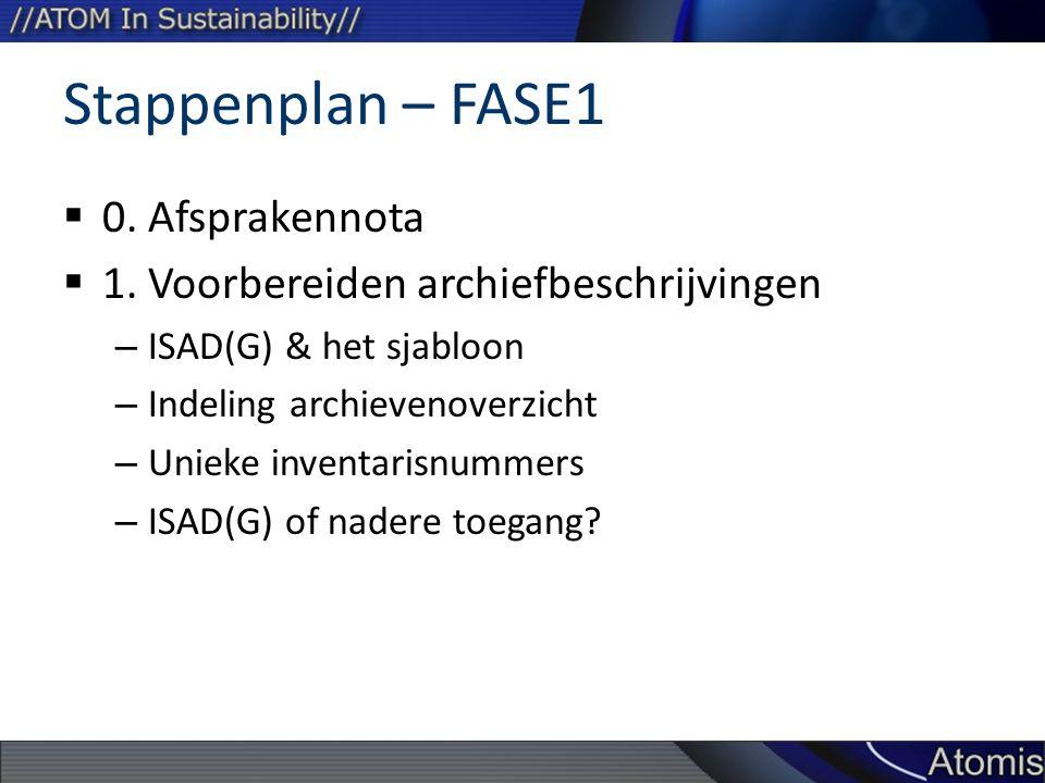 Stappenplan – FASE1  0. Afsprakennota  1. Voorbereiden archiefbeschrijvingen – ISAD(G) & het sjabloon – Indeling archievenoverzicht – Unieke inventa